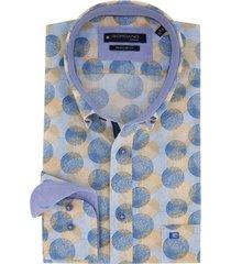 overhemd giordano geel blauw dessin regular fit