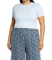 plus size women's bp. daisy ringer tee, size 4x - blue