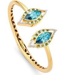 buddha mama 20kt yellow gold diamond evil eye cuff bracelet - blue