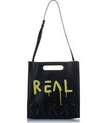 gucci ghost leather satchel black, yellow sz: l