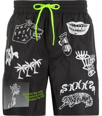 diesel graphic print swim shorts - black