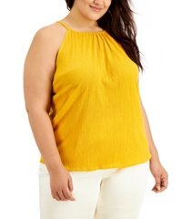 alfani plus size crinkled halter top, created for macy's