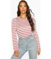 striped puff sleeve top, mauve
