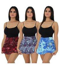 kit 3 shorts saia academia plus size feminino fitness