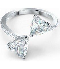 anillo attract soul heart, blanco, baño de rodio