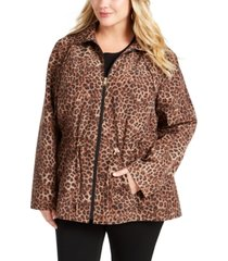 charter club plus size animal print anorak jacket, created for macy's