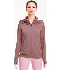 studio yogini knitted long trainingsjack voor dames, maat l | puma
