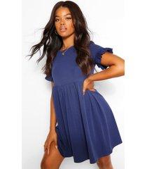 gesmokte crêpe jurk met mouw franjes, marineblauw