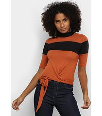 blusa acostamento bicolor amarração feminina
