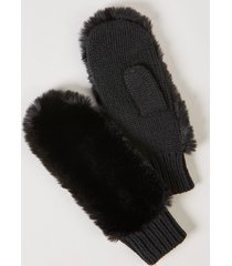 lane bryant women's faux-fur knit mittens onesz black