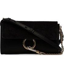 chloé black faye wallet on strap
