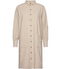 slfmalvina-tonia ls shirt dress b jurk knielengte beige selected femme