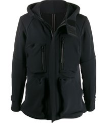 devoa multi-pocket hooded jacket - black