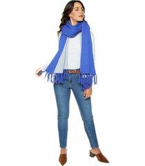 bufanda chal doble color leone- azul rey & gris
