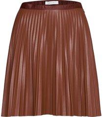 viaminna hw pleated short coated skirt kort kjol brun vila