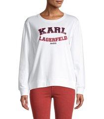 karl lagerfeld paris women's varsity logo sweatshirt - white - size xs