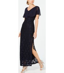 connected sequined lace chiffon overlay gown