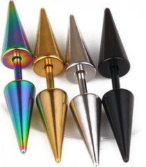 moda uomo ciondola gli orecchini cono oro nero acciaio al titanio orecchini accessori per uomo