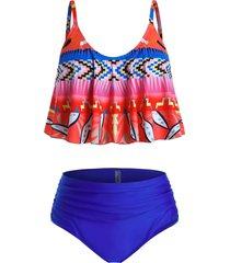 plus size printed ruched high rise tankini swimwear