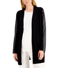 alfani petite faux-leather-trimmed cardigan sweater, created for macy's