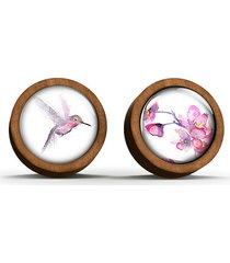 kolczyki drewniane - koliber - sztyfty