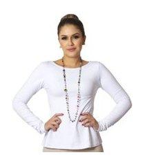 blusa ficalinda manga longa decote canoa evasê feminina