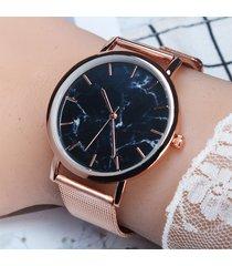 orologio da donna impermeabile in marmo con quadrante grande in acciaio inossidabile con quadrante argentato