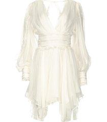 jurk met ruches en kant eve  wit