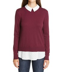 women's ted baker london ohlin mixed media layered sweater, size 2 - burgundy