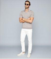 reiss duchie - merino wool open collar polo shirt in taupe, mens, size xxl