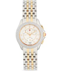 diamond & two-tone stainless steel chronograph watch