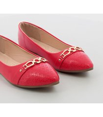 baletas mujer marca via spring color rojo via spring - rojo