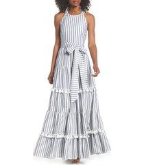eliza j tiered tassel fringe cotton maxi dress, size 12 in ivory/grey at nordstrom