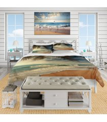 designart 'beautiful tropical beach with palms' beach duvet cover set - queen bedding