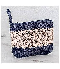 crocheted cosmetic bag, 'intricate texture in ivory' (guatemala)
