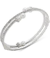 anne klein silver-tone imitation pearl & crystal coil bracelet