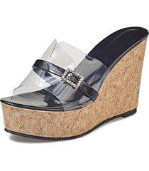 rhinestones clear pu upper women 's zapatillas 2019 sandalias con