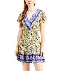 be bop juniors' mixed-print surplice dress