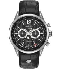 roamer men's 3 hands moonphase 43 mm dress watch in stainless steel case on strap
