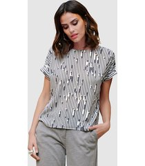 blouse alba moda grijs::offwhite