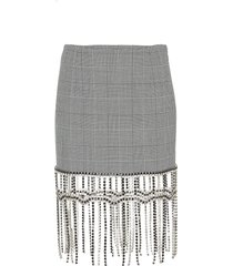 drape crystal hem plaid mini skirt