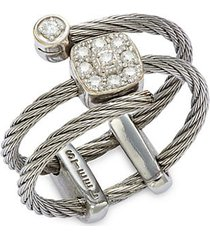 18k white gold, stainless steel & diamond cable ring
