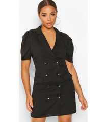 double breasted puff shoulder blazer dress, black
