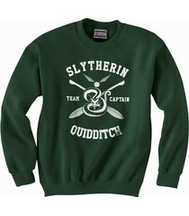 captain - new slytherin quidditch team captain unisex crewneck sweatshirt dfrst