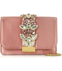 gedebe designer handbags, blush satin cliky clutch