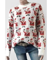 santa claus graphic fluffy christmas sweater