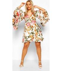 plus bloemenprint skater jurk met wijde mouwen, koraal