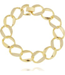 pulseira lua mia joias correntaria maxi elos cravejados - semijoia folheada a ouro 18k
