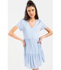 aby tiered swing babydoll dress - blue