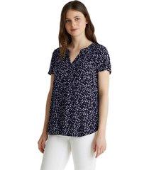blusa estampada en lenzing ecovero azul marino esprit